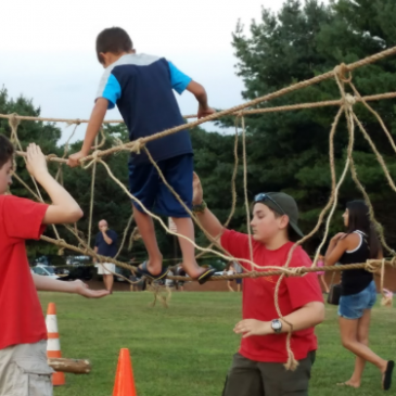Troop 236 Builds Monkey Bridge at Community Night Out 2k17