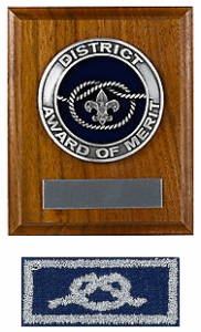 BSA District Award of Merit Plaque and Knot Patch